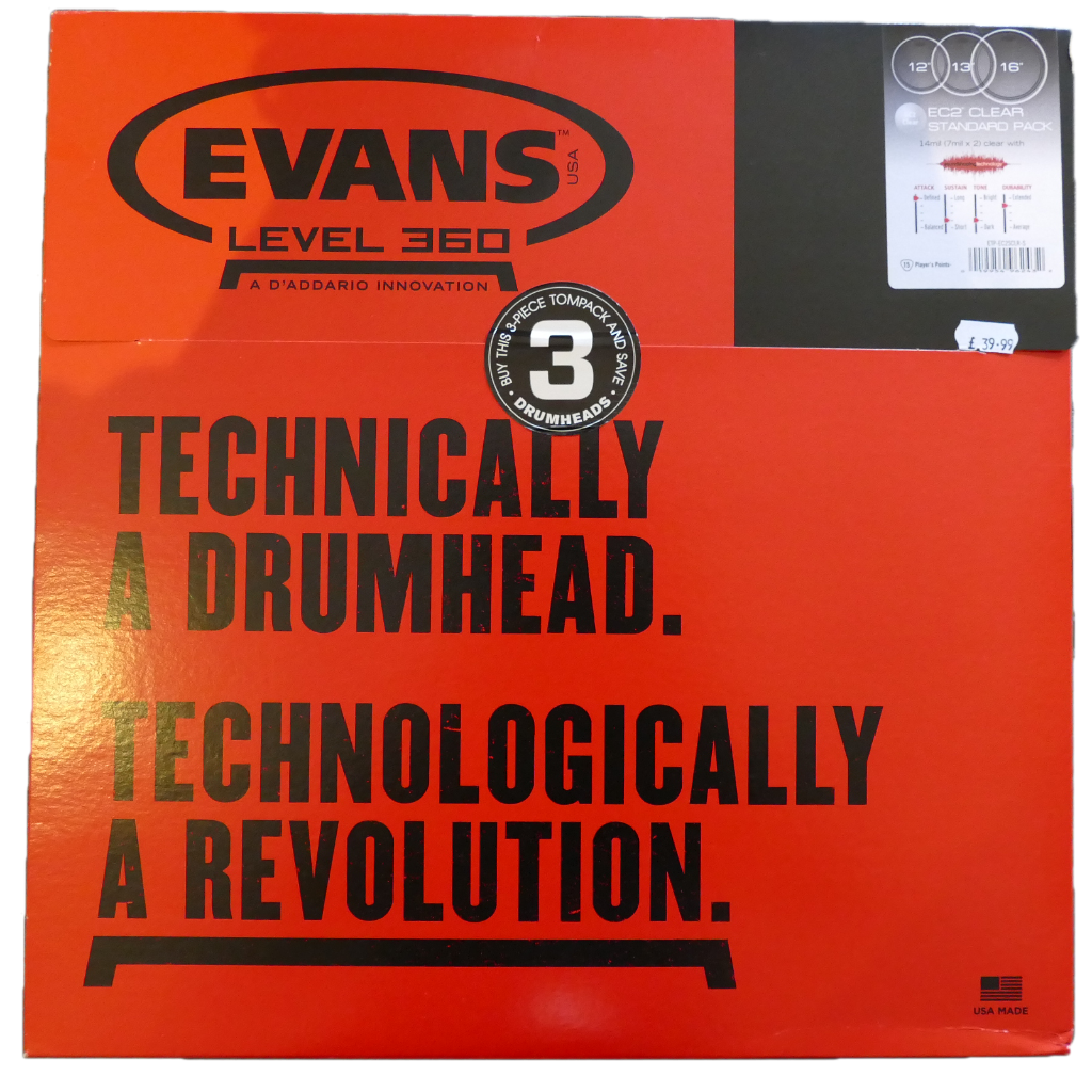 Evans EC2 Tompack Clear Standard 12 inch, 13 inch, 16 inch
