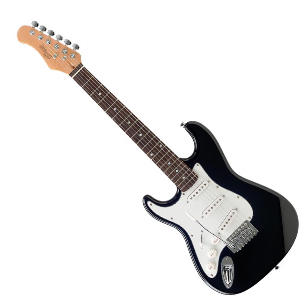 stagg s300 3 4 lh bk three quarter size electric guitar left handed black live louder. Black Bedroom Furniture Sets. Home Design Ideas